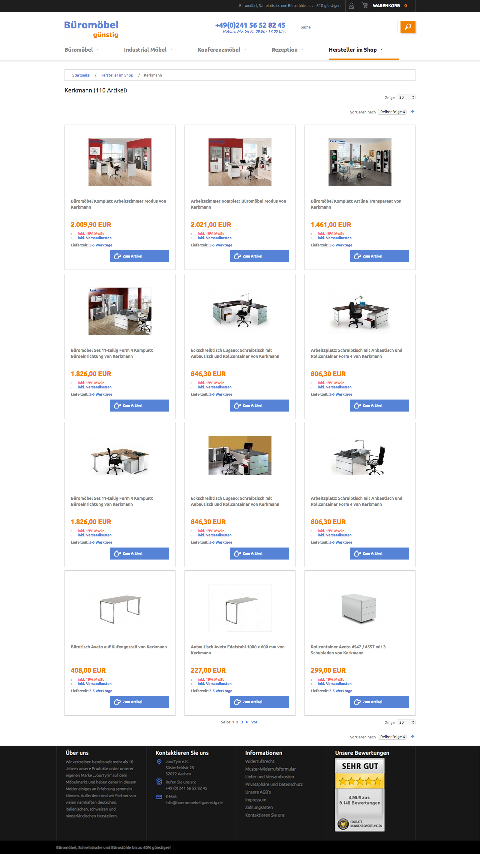 Bueromoebel - category page of store. Magento e-commerce.
