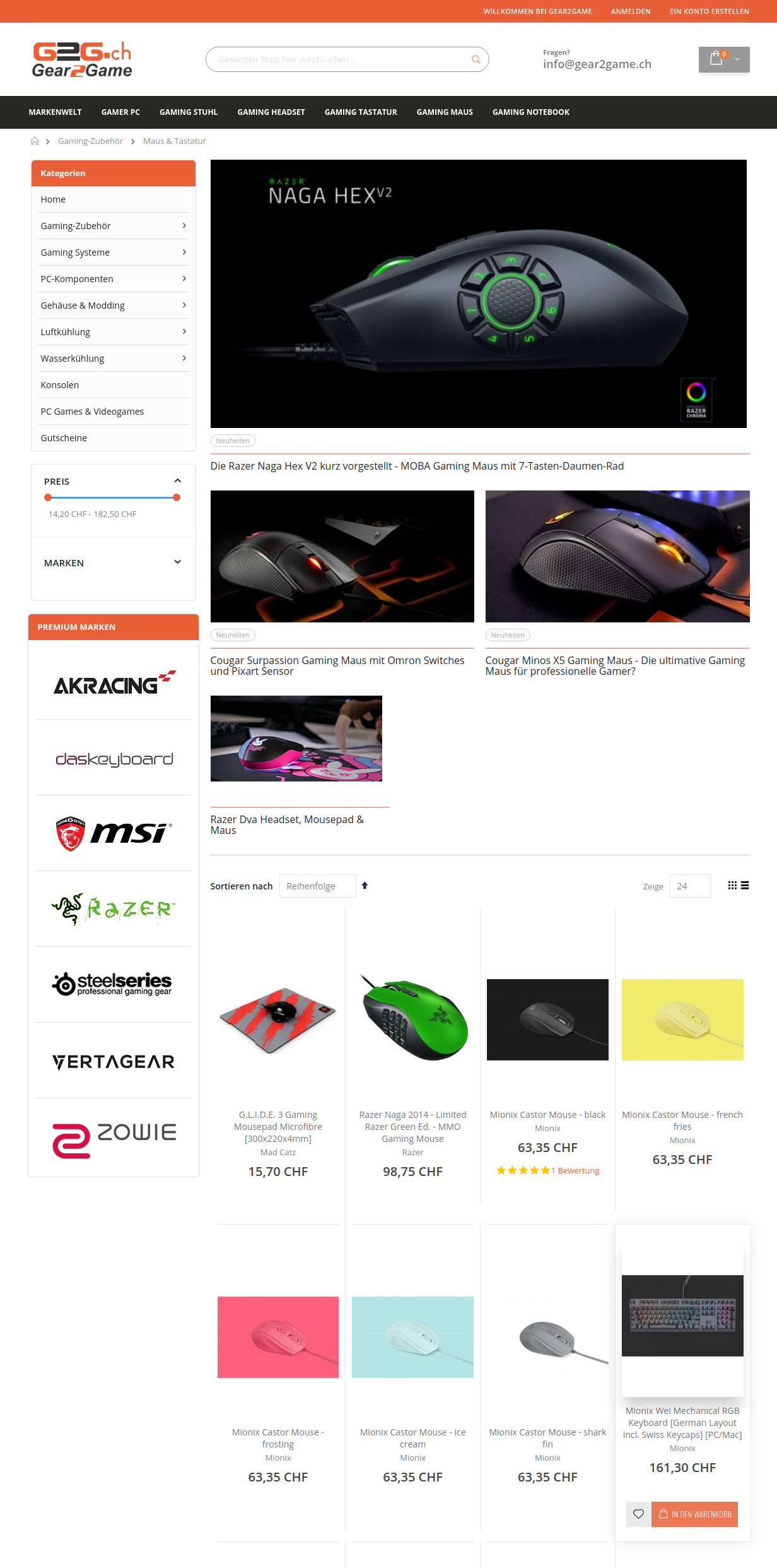 View of the category page - Gear2Game - Magento 2 online shop for gamers.
