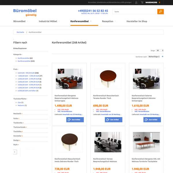 Bueromoebel - category page of store with layered navigation. Magento e-commerce.