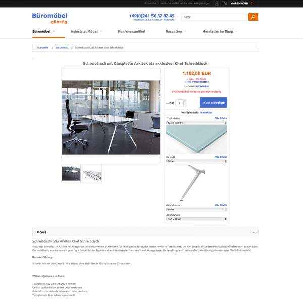 Bueromoebel - product page of store. Magento e-commerce.