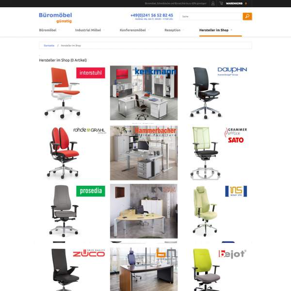 Bueromoebel - brands page of store. Magento e-commerce.