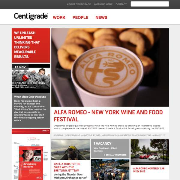 Centigrade - Home Page. Drupal based web-portal with responsive design.