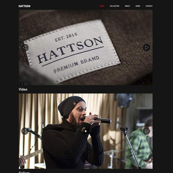 Hattson - Home page. Sample of Drupal project. Brand site on Drupal with responsive design.