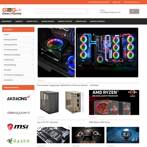 View of the home page - Gear2Game - Magento 2 online shop for gamers.